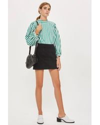 TOPSHOP - Black Moto Denim A-line Skirt - Lyst