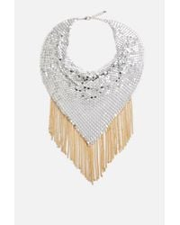 TOPSHOP - Metallic Fringed Chainmail Necklace - Lyst