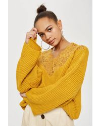 TOPSHOP - Yellow Lace Detail Cropped Jumper - Lyst