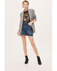 TOPSHOP - Blue Moto Denim Mini Skirt - Lyst