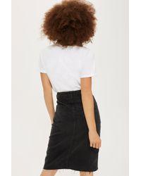 TOPSHOP Black Midi Denim Skirt