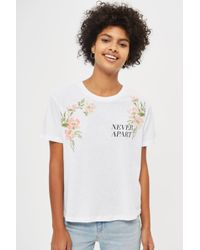 TOPSHOP - White 'never Apart' Slogan Embroidered T-shirt - Lyst