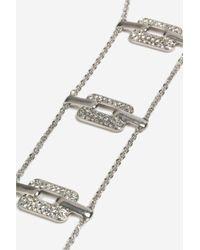 TOPSHOP - Metallic Rhinestone Link Ladder Necklace - Lyst