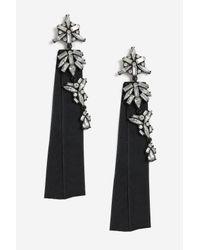 TOPSHOP - Black Fabric Navette Drop Earrings - Lyst