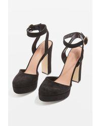 TOPSHOP - Black Selina Platform Shoes - Lyst