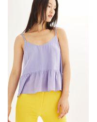 TOPSHOP - Purple Casual Peplum Camisole Top - Lyst