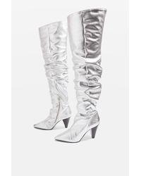 TOPSHOP - Metallic High Leg Patent Boots - Lyst