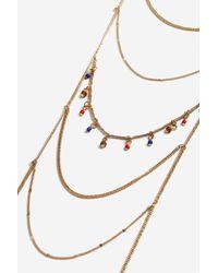 TOPSHOP - Multicolor Beaded Drop Ladder Necklace - Lyst
