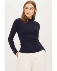 TOPSHOP - Blue Knitted Funnel Neck Jumper - Lyst