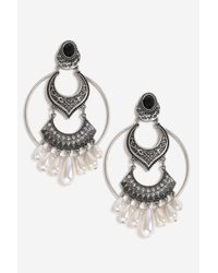TOPSHOP - Metallic Pearl Drop Earrings - Lyst