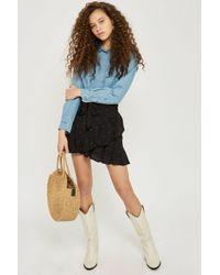 TOPSHOP - Black Petite Heart Ruffle Skirt - Lyst