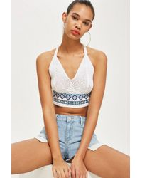 TOPSHOP - White Embroidered Tie Back Bralet - Lyst