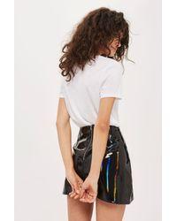 TOPSHOP | Black Moto Vinyl A-line Skirt | Lyst