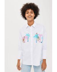 TOPSHOP - White Palm And Giraffe Print Shirt - Lyst
