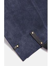 TOPSHOP - Blue Leather Suede Shopper Bag - Lyst