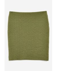 TOPSHOP - Green Textured Pull On Skirt - Lyst