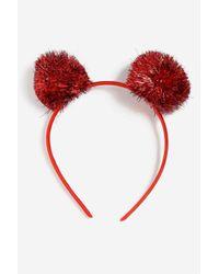 TOPSHOP - Red Tinsel Pom Pom Alice Band - Lyst