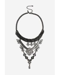 TOPSHOP - Multicolor Rhinestone Drop Choker Necklace - Lyst