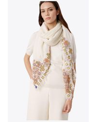 Tory Burch - Multicolor Hicks Garden Embellished Oversized Square - Lyst