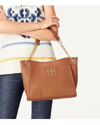 Tory Burch - Black Britten Small Slouchy Leather Tote - Lyst