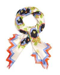 Tory Burch | White Avalon Fringed Silk Square Scarf | Lyst