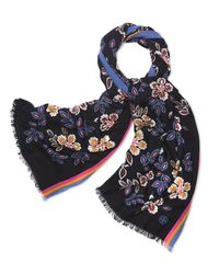Tory Burch | Black Hopewell-print Oblong Scarf | Lyst