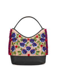 Tory Burch | Natural Embroidered Floral Hobo Tote Bag | Lyst