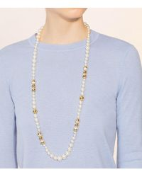 Tory Burch - Multicolor Capped Crystal Pearl Chain Rosary - Lyst