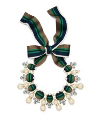 Tory Burch | Green Ribbon Pearl Statement Necklace | Lyst