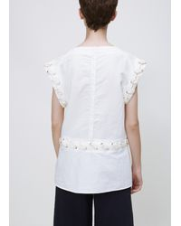 J.W. Anderson - White Washed Slub Cotton Lace Top - Lyst