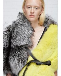 Jil Sander | Multicolor Grey/green Fur Scarf | Lyst