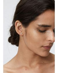 Wwake   Metallic 14k Gold / Black Diamonds Classic Opal And Diamond Earrings   Lyst