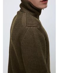 Lanvin | Natural Khaki Placed Darts English Rib Trucker Knit for Men | Lyst