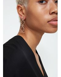 Mociun - Metallic Tiered Drop Earrings In 14k Gold. Post Backing. Sold As A Pair. 14k Gold. Handmade In Nyc. - Lyst