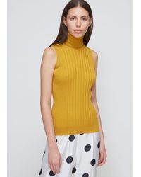 Maison Margiela - Yellow Rib Sleeveless Turtleneck - Lyst
