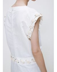 J.W. Anderson - White Washed Slub Cotton Lace Top - Lyst