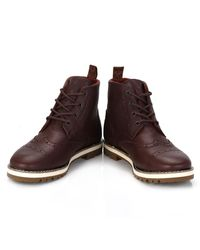 TOMS - Mens Dark Brown Brogue Leather Boots for Men - Lyst