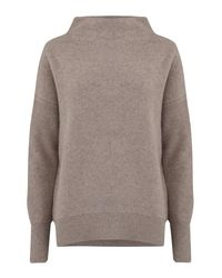 Vince - Gray Funnel Neck Pullover In Heather Taupe - Lyst