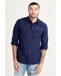 True Religion   Blue Triple Needle Mens Western Shirt for Men   Lyst