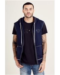 True Religion | Blue Big T Sleeveless Zip Front Mens Hoodie for Men | Lyst