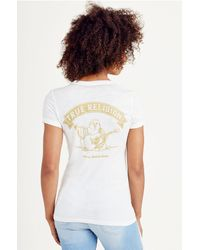 True Religion | Black Relaxed V Neck Womens Tee | Lyst