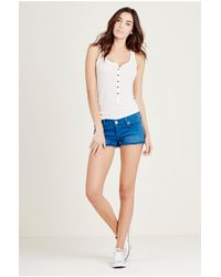 True Religion | Natural Hollowhorn Jayde Super T Boyfriend Shorts | Lyst