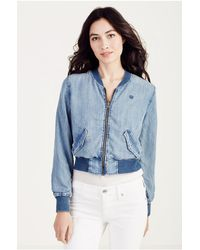 662a81a20 Lyst - True Religion Reversible Denim Bomber Jacket in Blue