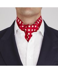 Turnbull & Asser - Red And White Large Spot Silk Ascot Tie for Men - Lyst
