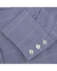 Turnbull & Asser - Blue Quad Check Shirt With T&a Collar And Button Cuffs for Men - Lyst