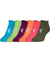 Under Armour | Multicolor Women's Ua Big Logo No Show Socks 6-pack | Lyst