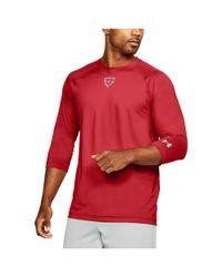 Under Armour Red Men's Ua Heater 3⁄4 Sleeve T-shirt for men