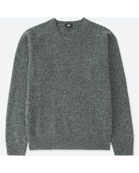 Uniqlo - Gray Lambswool Crew Neck Sweater for Men - Lyst