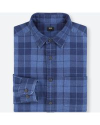 Uniqlo - Blue Men Flannel Checked Long-sleeve Shirt for Men - Lyst