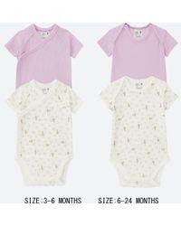 Uniqlo - Purple Newborn Crewneck Short-sleeve Bodysuit (set Of 2) - Lyst